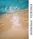 azure blue sea. white clean... | Shutterstock . vector #411813613