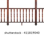 wooden railing of a balcony... | Shutterstock . vector #411819040