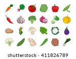 vegetable and fruits hand drawn ... | Shutterstock .eps vector #411826789