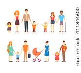 family  parents with kids ... | Shutterstock .eps vector #411844600
