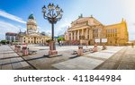 Stock photo panoramic view of famous gendarmenmarkt square with berlin concert hall and german cathedral in 411844984