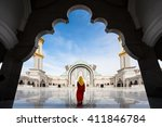 malaysia mosque with muslim... | Shutterstock . vector #411846784