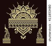 henna tattoo flower template...   Shutterstock .eps vector #411853480