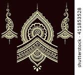 henna tattoo flower template... | Shutterstock .eps vector #411853528