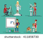 flat icons set of creative...   Shutterstock .eps vector #411858730