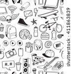 teen have fun concept. seamless ... | Shutterstock .eps vector #411863839