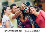 selfie teenagers taking... | Shutterstock . vector #411865564