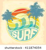 surfer vector set.vintage surf... | Shutterstock .eps vector #411874054