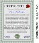 certificate template eps10 jpg...   Shutterstock .eps vector #411874564