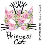 cute cat watercolor... | Shutterstock . vector #411876136