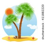 palm tree stands on the sand... | Shutterstock .eps vector #411882220
