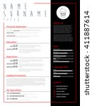 minimalist cv  resume template... | Shutterstock .eps vector #411887614