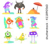 monsters  on the beach childish ... | Shutterstock .eps vector #411890560