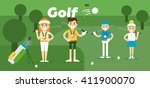 golf team on award with gold ... | Shutterstock .eps vector #411900070