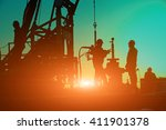 oil drilling exploration  the... | Shutterstock . vector #411901378