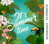 it's summer time wallpaper with ... | Shutterstock .eps vector #411906076