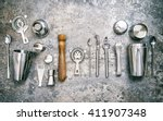 bar tools for making cocktail.... | Shutterstock . vector #411907348