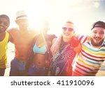diverse people friends fun... | Shutterstock . vector #411910096