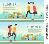 physical activity people... | Shutterstock .eps vector #411917368