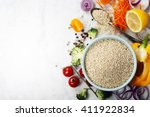 bowl of healthy white quinoa... | Shutterstock . vector #411922834