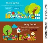spring nature garden flat... | Shutterstock .eps vector #411923698