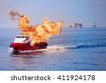 fire burning on the boat in... | Shutterstock . vector #411924178
