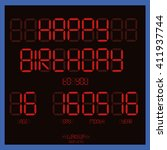 happy birthday  red scoreboard | Shutterstock .eps vector #411937744