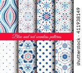 blue red floral patterns on... | Shutterstock .eps vector #411938149