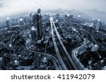 blue tone city and network... | Shutterstock . vector #411942079