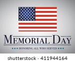Stock vector honoring all who served banner for memorial day american flag on gray 411944164