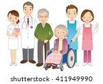 wheelchair elderly women and... | Shutterstock . vector #411949990