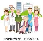 wheelchair elderly women and...   Shutterstock . vector #411950218