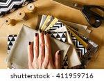 modern quilt fabrics with... | Shutterstock . vector #411959716