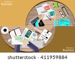 vector workplace businessman... | Shutterstock .eps vector #411959884