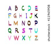 alphabet hand drawn... | Shutterstock . vector #411965908
