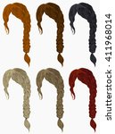 set of   hairs  different... | Shutterstock .eps vector #411968014