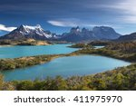 torres del paine national park  ... | Shutterstock . vector #411975970