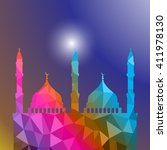 beautiful religious eid... | Shutterstock .eps vector #411978130