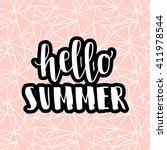 hello summer pink hipster boho... | Shutterstock .eps vector #411978544