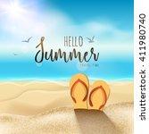 summer beach travel design... | Shutterstock .eps vector #411980740