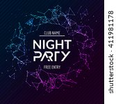 night party poster. shiny... | Shutterstock .eps vector #411981178