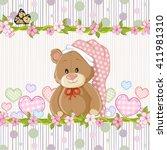 teddy bear for baby girl . baby ... | Shutterstock .eps vector #411981310