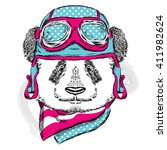 funny panda wearing a helmet.... | Shutterstock .eps vector #411982624
