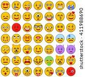 set of emoticons. set of emoji. ... | Shutterstock .eps vector #411988690