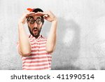 crazy young man surprised... | Shutterstock . vector #411990514
