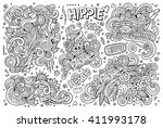 line art vector hand drawn... | Shutterstock .eps vector #411993178