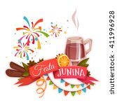 banner with red ribbon and... | Shutterstock .eps vector #411996928