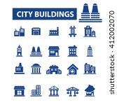 city buildings icons  | Shutterstock .eps vector #412002070