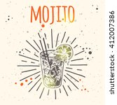 mojito cocktail. hand drawn... | Shutterstock .eps vector #412007386
