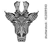 giraffe. hand drawn giraffe... | Shutterstock .eps vector #412009543